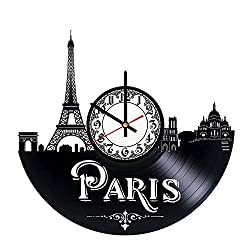 Paris City of France Vinyl Wall Clock, Eiffel Tower Louvre Museum Notre-Dame Vinyl Record Handmade Art Decor for Home Room Kitchen, Vintage Original Gift For Any Occasion, Party Supplies Decoration