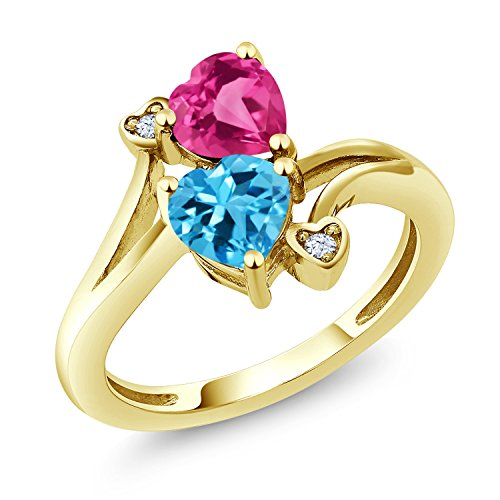 Gem Stone King 1.78 Ct Heart Shape Swiss Blue Topaz Pink Created Sapphire 10K Yellow Gold Ring (Size 6)