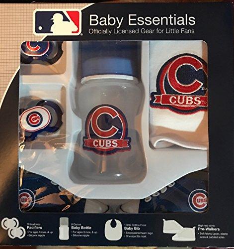 Pacifier Bib Bottle (Chicago Cubs 5 Piece Baby Gift Set 2 Pacifiers Pre Walkers Bottle + Bib)