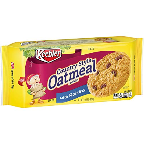Keebler Cookies, Country Style Oatmeal Cookies with Raisins, 10.1 oz Tray