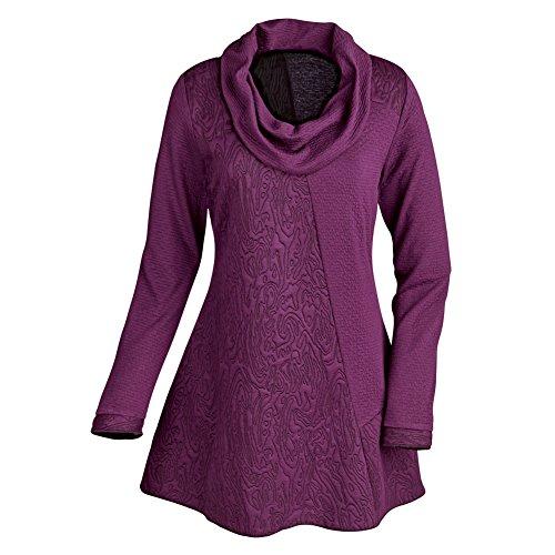 Women's Tunic Top - Textured Cowl Neck Long Sleeve Shirt - Purple - 1X