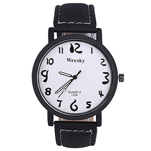 VGEBY Analog Quartz Watch, PU Leather Band Casual Wrist Watch Bracelet for Men Women(Black Band)