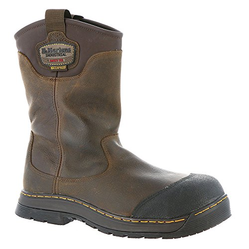 Dr. Martens Men's Rush EH ST Rigger Work Boots, Brown, Leather, Rubber, 10 M UK, 11 M US Wear Dr Martens