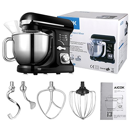 Aicok Stand Mixer, 500W 6-Speed 5-Quart Stainless Steel Bowl, Tilt-Head Food Mixer Kitchen Electric Mixer with Double Dough Hooks, Whisk, Beater, Pouring Shield, Black by Aicok (Image #8)