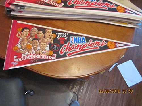 1997 NBA 5 time Champions Chicago Bulls Basketball Pennant team picture