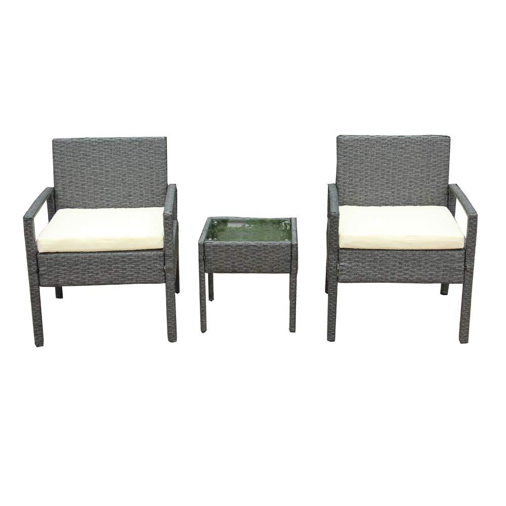 ALEKO RTF005GY Rattan Wicker Furniture 3-Piece Indoor Outdoor Bistro Coffee Table Set Gray