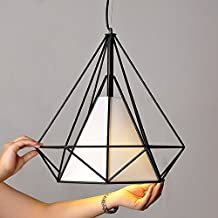 WINSOON 1PC 15.7X15.7 Inch VINTAGE RETRO INDUSTRIAL LOFT METAL CEILING CAGE LIGHT PENDANT LAMP SHADE (Black)