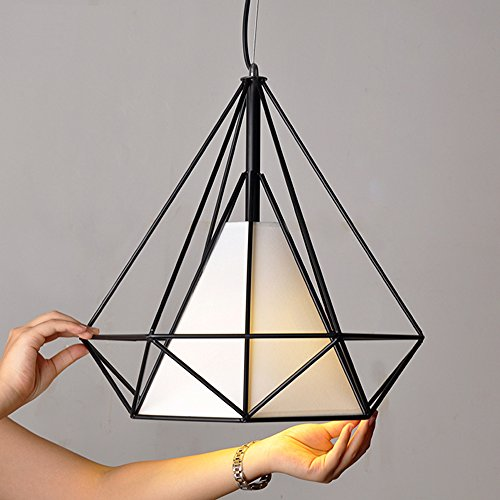 WINSOON 1PC 15.7X15.7 Inch VINTAGE RETRO INDUSTRIAL LOFT METAL CEILING CAGE LIGHT PENDANT LAMP SHADE (Black)