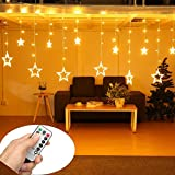 SOLMORE Star Curtain Lights 12 Stars 138 LEDs Curtain String Lights Window Lights DIY Lighting 8 Modes Dimmable with Remote for Wedding Party Backdrops Home Bedroom Indoor Wall Decorations
