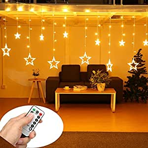 Star Curtain Lights   SOLMORE 12 Stars 138 LEDs Curtain String Lights  Window Lights DIY Lighting
