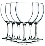 Clear Nuance Wine Glassware with Beautiful Colored Stem Accent – 10 oz. Set of 6- Additional Vibrant Colors Available by TableTop King (Clear) For Sale