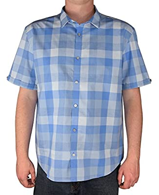 Calvin Klein Men's Cotton Twill Short Sleeve Button Front Shirt