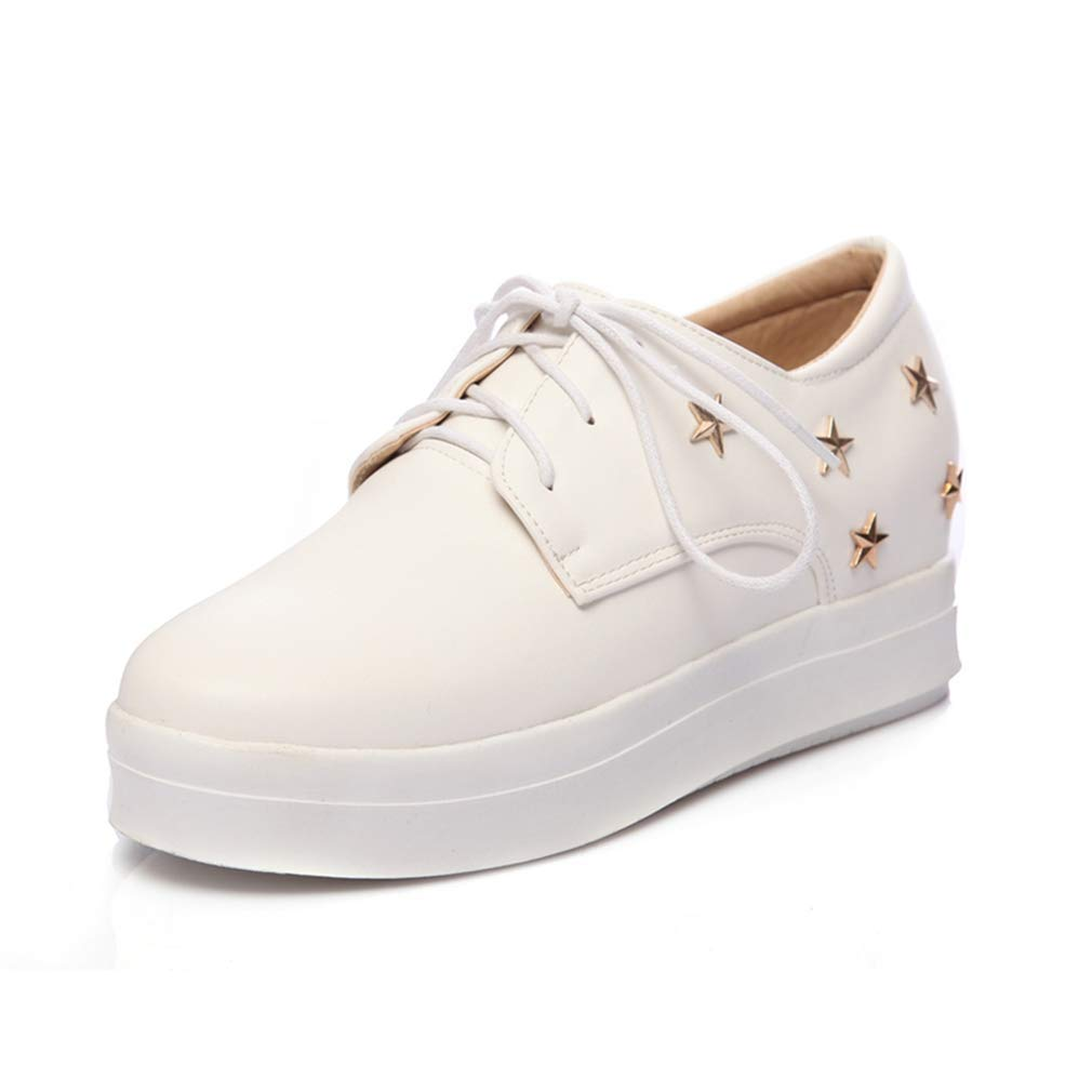 White Elsa Wilcox Women Lace Up Hidden Wedge Mid Heel Stars Dress Oxford shoes Round Toe Platform Casual Loafer shoes