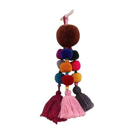 Nowbetter Llavero de Borla con diseño de pompón Rosca de múltiples Capas, Colgante de Flecos, Llavero, Bolsa de Coche, Adornos para Mujeres y niñas, ...