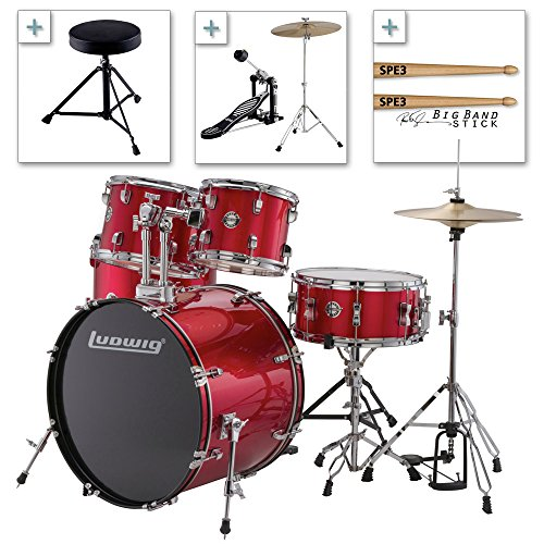 Ludwig Accent Drive Series LC175 Complete Drum Package with Cymbals, Hardware, Drum Throne, Chain-drive Pedal and Sticks (Red foil)