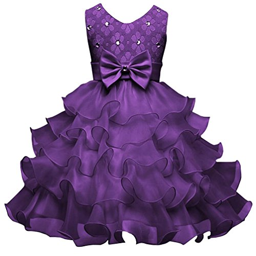 Csbks Girls Wedding Party Dress Pageant Baby Ruffles Tulle Princess Dresses 2T Dark Purple]()