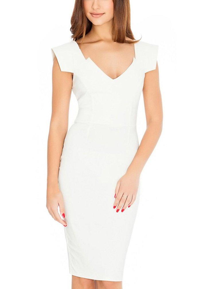 Ssyiz Women's Retro 1950s Style Cap Sleeve Slim Business Pencil Dress White 6
