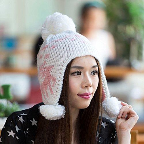 para señoras Invierno WHITE Ciervos otoño Novedades Lana Beige el Nacional Tapa Punto Maozi Hairball 5qgwpUwx