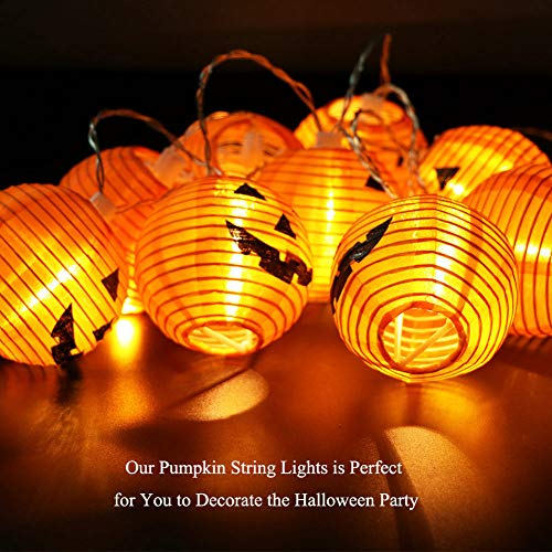 WmBetter Pumpkin String Lights Detachable Polyester Halloween Pumpkin Lanterns with 10 LED lights for Halloween Decoration by Wmbetter (Image #1)
