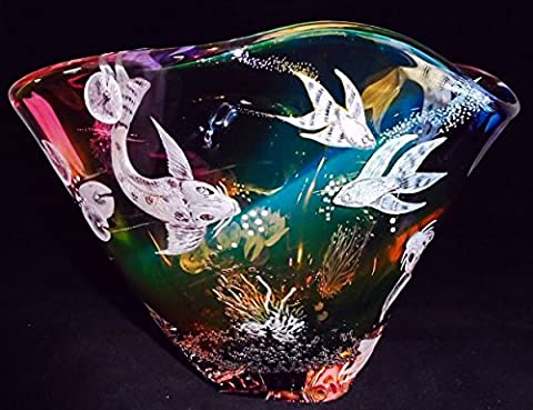 Hand Engraved Bowl Koi Fish, Etched Koi, Centerpiece Bowl, Personalized Bowls, Housewarming gift Bowl, Customized - Floral Etched Crystal