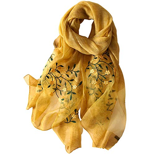 (Alysee Women Soft Warm Silk&Wool Mixed Embroidered Scarf Shawl Headwrap Mustard)
