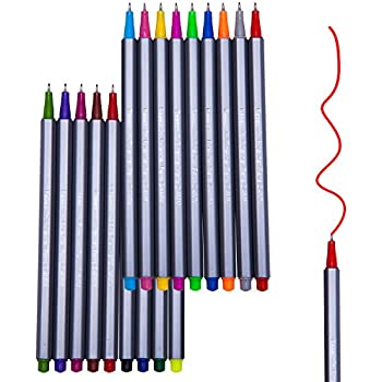 Reaeon 18 Fineliner Color Pen Set, Porous Fine Line Drawing Pens, Fine Point Coloring Markers for Bullet Journal Art Projects