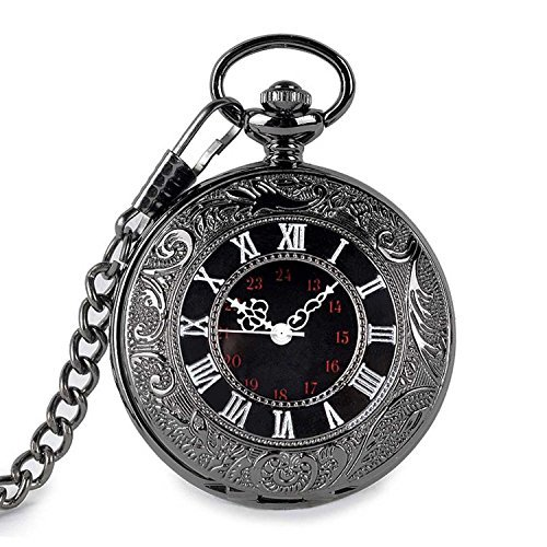 (SwitchMe Vintage Pocket Watch Classic Roman Numerals with Belt Clip Chain Black)