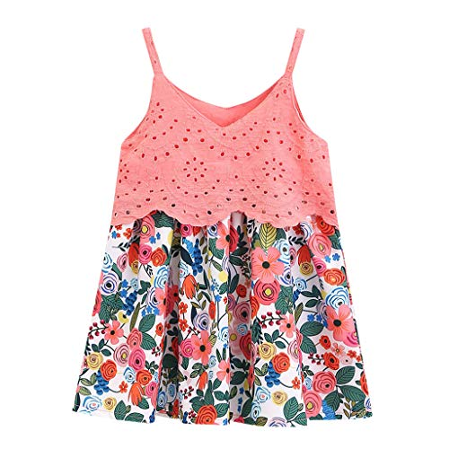 Zlolia Baby Girls Patchwork Floral Print Dress Sling V-Neck Mini Skirt Girl Summer Cute Clothes Pink