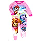 Paw Patrol Girls Fleece Sleeper Pajamas (2T, Pink Skye Everest & Marshall)