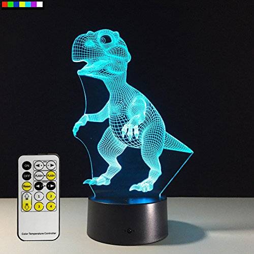 Easuntec Night Light Dinosaur 7 Colors Change with Remote Control Good Night light for Nursery or Kids Bedroom by (Dinosaur) - Kid Gadgets