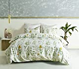 RheaChoice Pastoral Style Floral Plant Canary Yellow Kids 2 Pieces Duvet Cover Set with Zipper Twin (68''x90'')-(1 Duvet Cover + 1 Pillow Shams)-Ultra Soft Hypoallergenic Microfiber