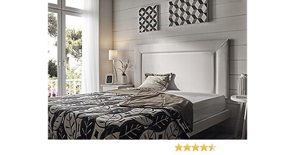 Living Sofa CABECERO Marco Grande Elegant Royalty Luxury DE Alta Gama TAPIZADO EN Micro Piel Color Blanco 145 x 80 (Todas Las Medidas)
