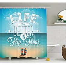 Quote Decor Shower Curtain by Ambesonne, Life is Better in Flip-Flops Inspirational Phrase on Seascape Hot Summer Print, Fabric Bathroom Decor Set with Hooks, 70 Inches, Blue White