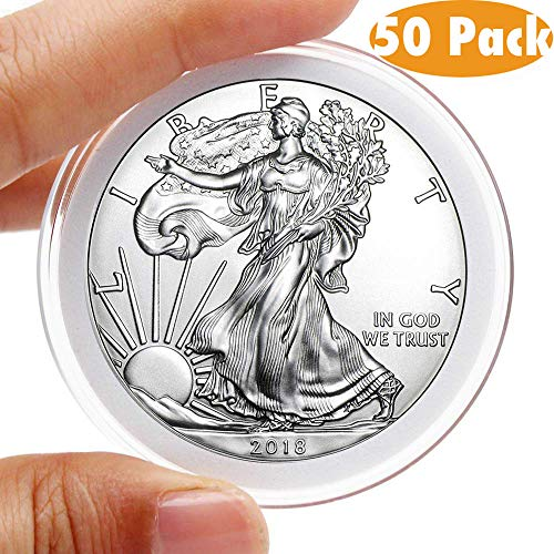 AukeyStar Round Clear Plastic Coin Capsules, 50 Pieces Coin Holder Case with 5 Adjustable Inner Protect Gasket(20/25/30/35/40mm) for Coin Collection American Silver Eagle Liberty Coin &JFK HALF DOLLAR