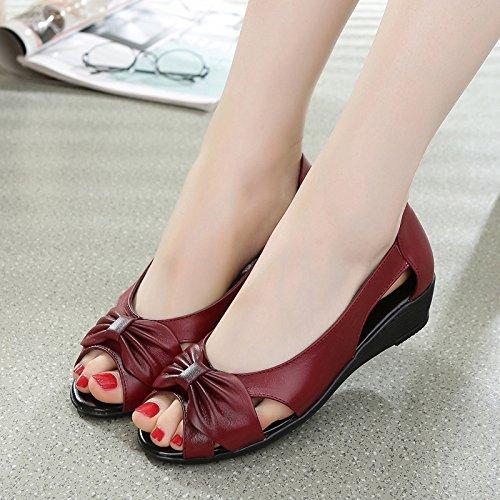 ZPPZZP Ms sandali, porta poco profonda, rosso, 35EU