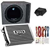 12 inch subwoofer and amp package - Planet Audio 1800W Subwoofer + Boss 1500W Amplifier w Amp Kit +Q-Power Enclosure