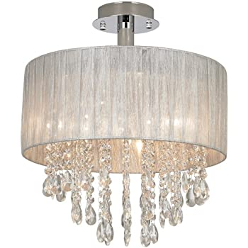 Possini Euro Jolie 15 Quot Wide Silver And Crystal Ceiling