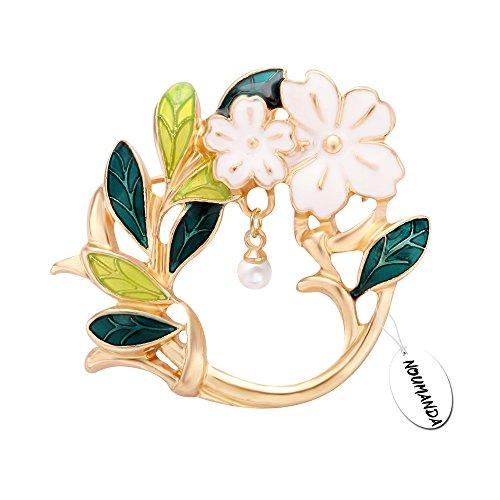 Brooch Design Floral - NOUMANDA Dual Purpose Dainty Floral Leaf Brooch,Eyeglass Holder Pin (Gold)