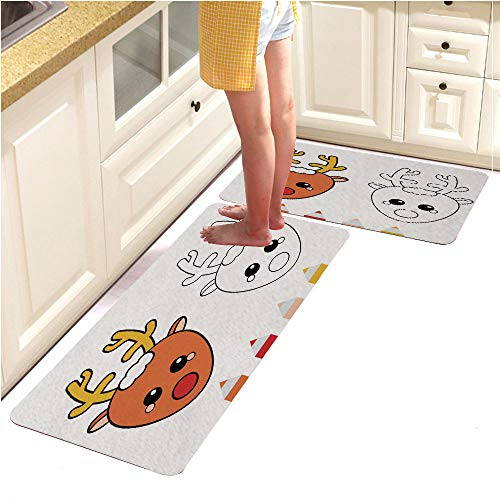 2 Piece Non-Slip Kitchen Mat Rubber Backing Doormat Runner Rug Set, Coloring Page with Christmas Deer Drawing Kids Game Printable Activity (18