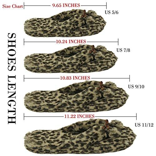 Pantofola Casa Donna Morbida Fleece Coperta Antiscivolo Casa Infradito Spa Perizoma Pantofole Marrone Leopardo