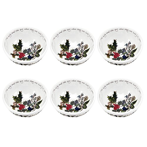 Portmeirion Holly and Ivy Individual Fruit Salad Bowls, Set of 6 ()