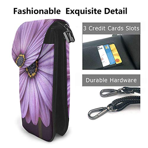 Hdadwy mobiltelefon crossbody väska lila krysantemum kvinnor PU-läder mode handväska med justerbar rem