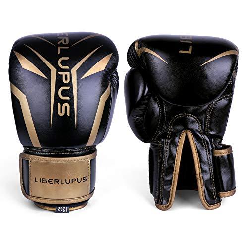Liberlupus Cool Style Boxing Gloves for Men & Women, Boxing Training Gloves, Kickboxing Gloves, Sparring Gloves, Heavy Bag Gloves for Boxing, Kickboxing, Muay Thai, MMA(Black & Golden, 16 oz)