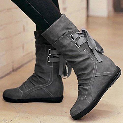 Heel Hidden Strap Boots Mid KemeKiss Women Calf Strap Back Back Casual Grey 4EntB