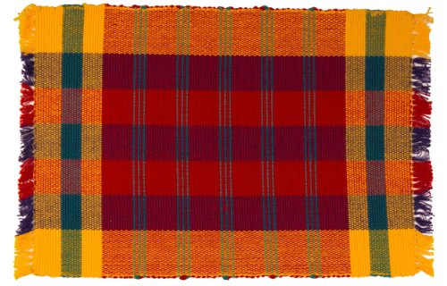 100-Cotton-Red-Blue-Yellow-Plaid-12x18-Placemat-Set-of-6-Pirouette-Red