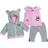 15 Inch Baby Doll Outfit in Pink & Gray by Sophia's, Complete 3 Pc Set Includes Panda Bear Tunic, Leggings & Sweatshirt Panda