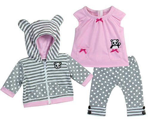 15 Inch Baby Doll Outfit in Pink & Gray by Sophia's, Complete 3 Pc Set Includes Panda Bear Tunic, Leggings & Sweatshirt Panda for Bitty Baby & More!