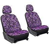 zebra stripe seat covers - OxGord 6pc Zebra Animal Print - Velour - Bucket Seat Cover for Car, Truck, Van, SUV - Purple/ Black