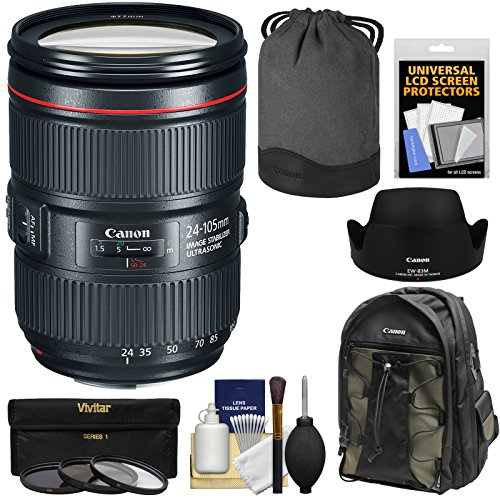 Canon EF 24-105mm f/4L is II USM Zoom Lens with Backpack + Pouch + Hood + 3 UV/CPL/ND8 Filters Kit (Canon Weatherproof Camera)