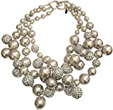 KENNETH JAY LANE-3 ROW SILVER/GRAY BEADS NECKLACE WITH PAVE CRYSTAL BALLS ACCENTS